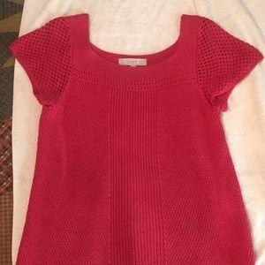 Dark coral short sleeved sweater